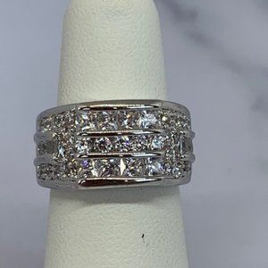 RS Covenant Squared Wide CZ & Rhodium Band